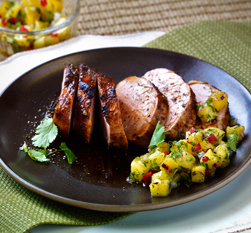 Chipotle Pork Tenderloin and Grilled Pineapple Salsa from Salsa! by Sharon O'Connor