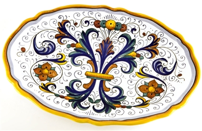 Deruta Oval Serving Platter with Scalloped Edge