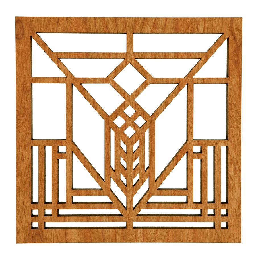 Cherry Wood Trivet With Frank Lloyd Wright Lake Geneva