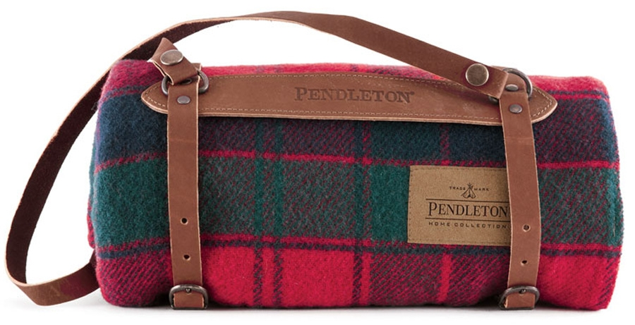 Pendleton Blanket In Robertson Tartan With Leather Carry Strap