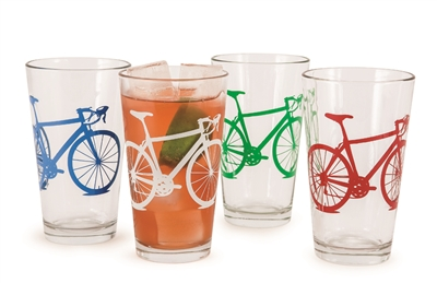 Pint Bicycle Glasses (set of four)