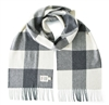 Irish Merino Wool Scarf by Avoca, Gray Check