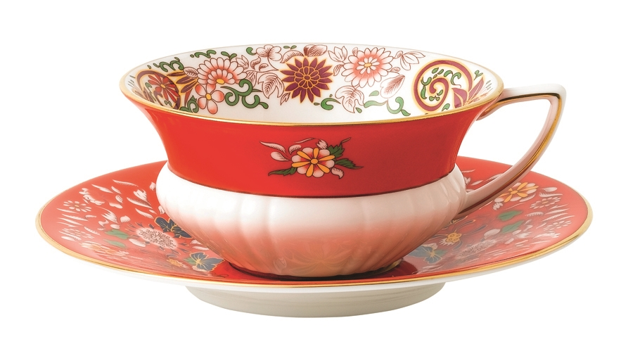 Wonderlust Crimson Orient Tea Cup And Saucer By Wedgwood