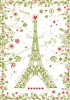 Paris with Flowers French Kitchen Towel