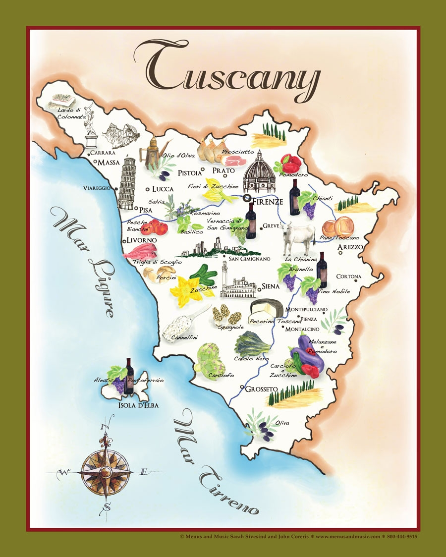 The Bounty Of Tuscany Food Map - Map tuscany