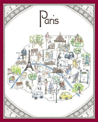 Whimsical Map of Paris