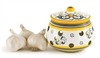 Hand Painted Italian Ceramic Garlic Jar