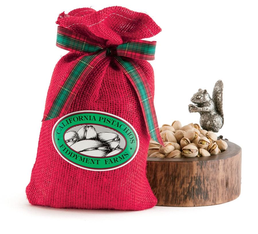Pistachios In Burlap Bag