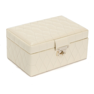 Quilted Leather Jewelry Box In Cream