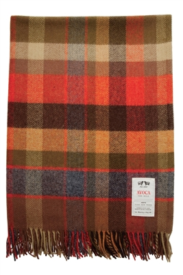 Avoca Warm Color Wool Throw