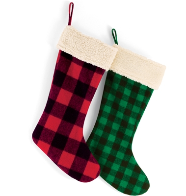 Plaid Stocking - Green/Black