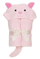 Hooded bath wrap pink kitty
