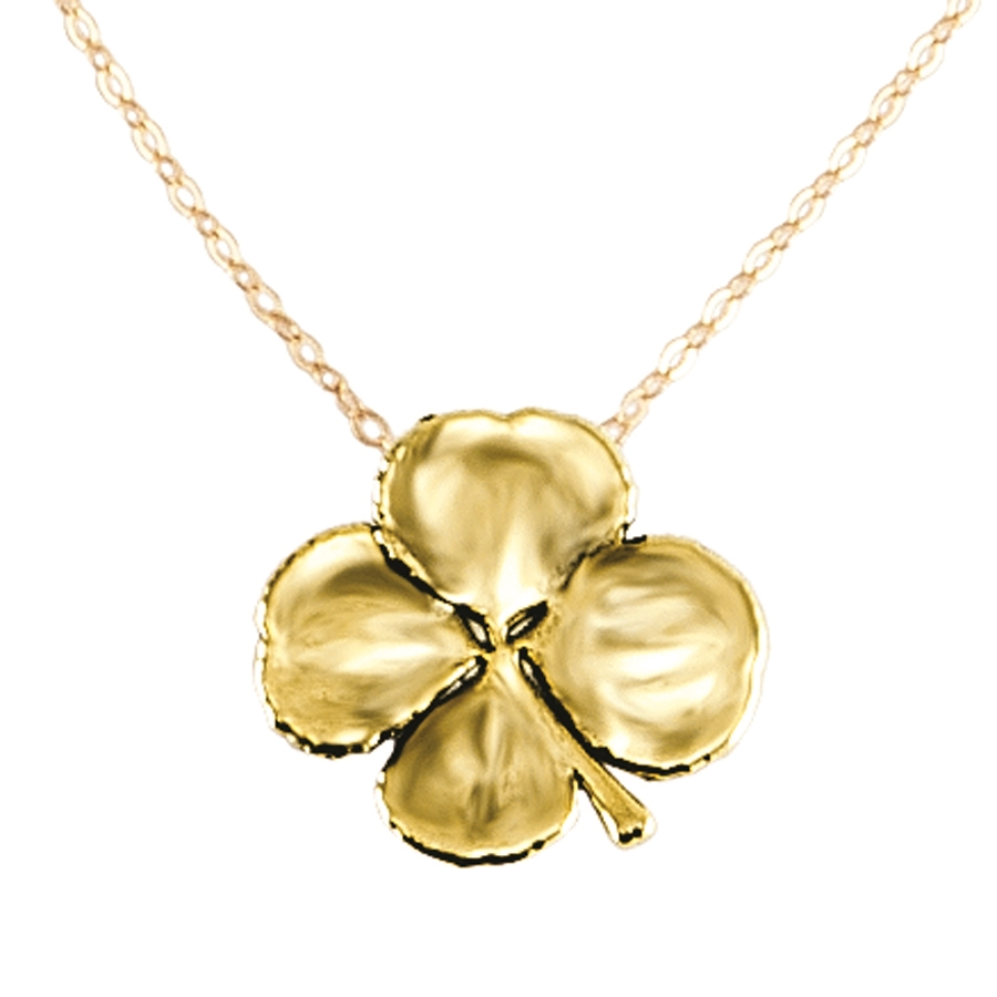 emerald diamond and necklace gold products clover yellow leaf