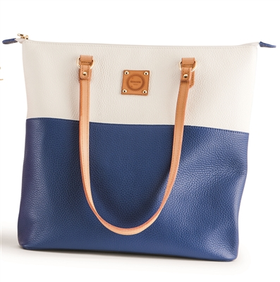 Martino Tote - White And Ocean Blue