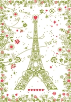 Paris With Flowers Kitchen Towel
