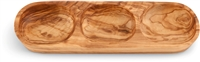 "Olive Wood 11"" 3 Section Server"