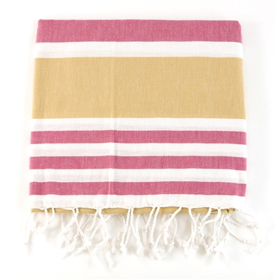 Pink/Tan Turkish Towel