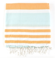 Turkish Towel - Apricot/Turquoise