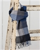 Blue and Gray Check Merino Scarf