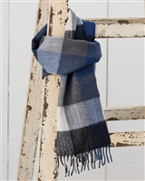 Avoca Blue and Gray Merino Wool Scarf from Ireland