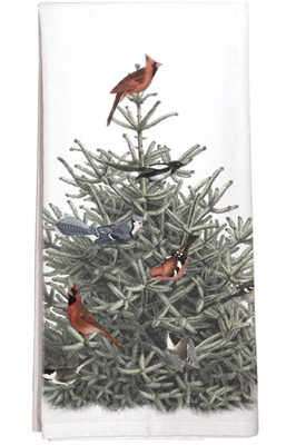 Fir Tree With Cardinals Towel