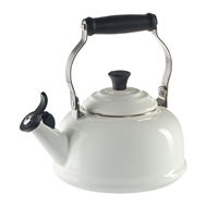 Le Creuset Whistling Tea Kettle in White with free Invitation to Tea