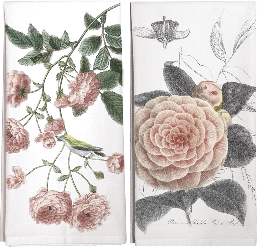 Roses and Camellia Kitchen Towels (Set of Two)