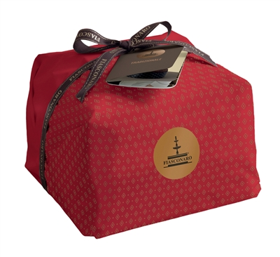 Panettone in red wrapper