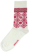 Swedish Socks - White W/ Red Design