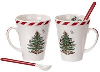 Spode Christmas Tree Mugs With Spoons