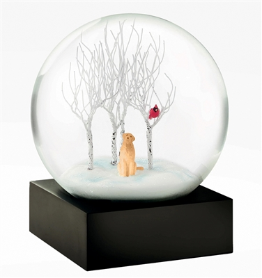 Snowglobe with dog and trees