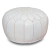 Moroccan Leather Pouf - White