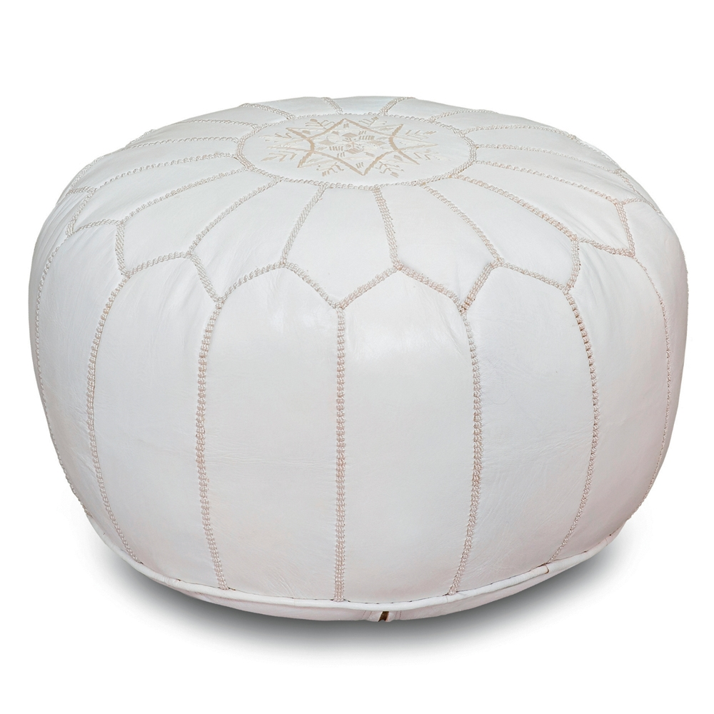 Enjoyable Handmade Moroccan Leather Pouf White Gmtry Best Dining Table And Chair Ideas Images Gmtryco