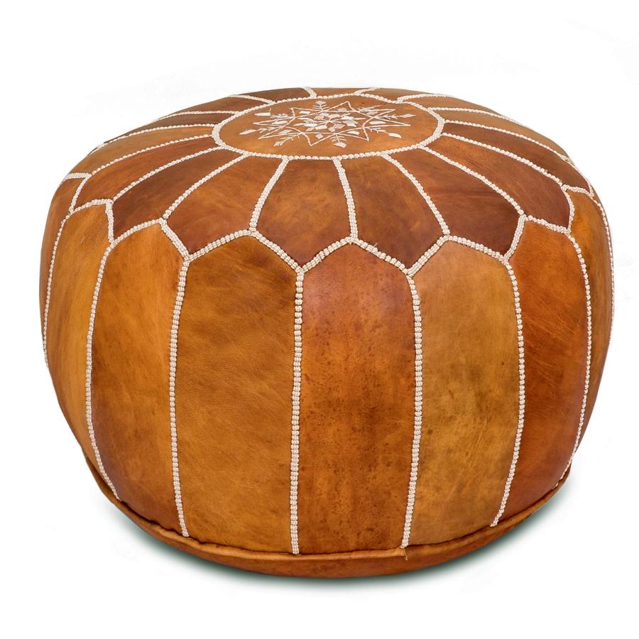 Superb Moroccan Leather Pouf Tan Lamtechconsult Wood Chair Design Ideas Lamtechconsultcom