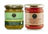 Jars of tomato Bruschetta Sauce and Ligurian Basil Pesto