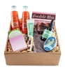 Box of Iceland soap, French mints tin, Lip Balm, Hand Cream, Hand Sanitizer, 2 Lavender Sachets, 2 Cipriani Bellini bottles