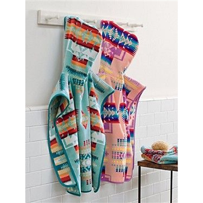 Chief Joseph design aqua hooded towel by Pendleton