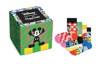 green cardboard box with Mickey Mouse and 4 pair of socks