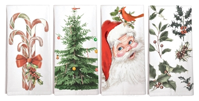 Four Cotton Kitchen Towels with Holiday Designs