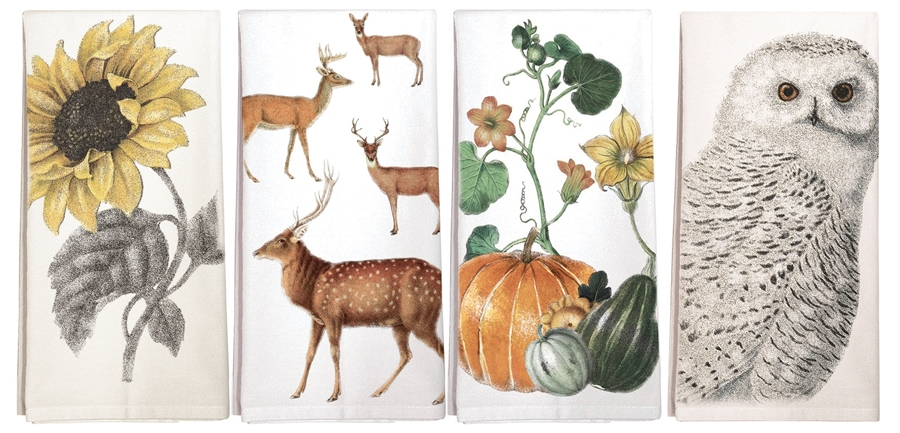 Four Cotton Kitchen Towels With Fall Designs Made In Usa