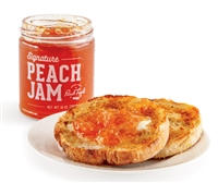 jar of peach jam and english muffin