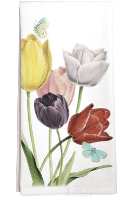 Towel with tulips