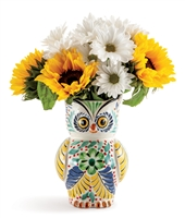 Mexican Ceramic Owl  Vase for flowers