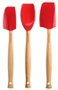 3 red silicone spatulas with wooden handles