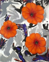 Orange Petunias OIl Painting